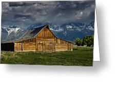 Mormon Barn Under Approaching Storm Greeting Card