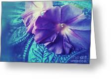 Morning Glories On Paisley Greeting Card