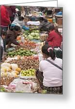 Morning Market In Luang Prabang Greeting Card by Roberto Morgenthaler
