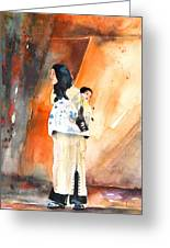 Moroccan Woman Carrying Baby Greeting Card