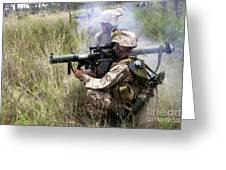 Mortarman Fires An At4 Anti-tank Weapon Greeting Card by Stocktrek Images
