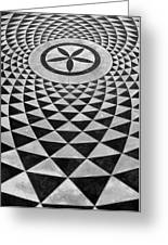 Mosaic Black And White Floor Greeting Card