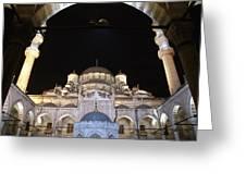 Mosque Yeni Camii At Night Greeting Card