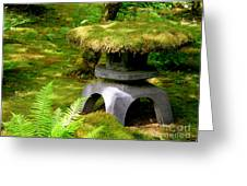 Mossy Japanese Garden Lantern Greeting Card