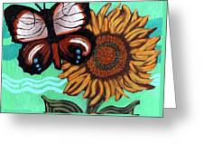 Moth And Sunflower Greeting Card