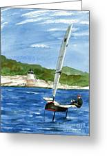 Moth Sailing At Castle Hill Light Greeting Card