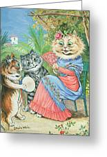 Mother Cat With Fan And Two Kittens Greeting Card