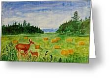 Mother Deer And Kids Greeting Card