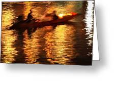 Motion Blur Photo Of Bangkok Local Speed Boat On Chao Phra Ya Ri Greeting Card