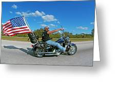 Motorcycle And Flag Greeting Card