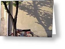 Motorcycle And Tree. Belgrade. Serbia Greeting Card