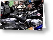 Motorcycles - Harleys And Hondas Greeting Card
