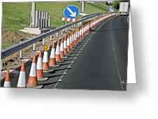 Motorway Traffic Cones Greeting Card