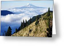 Mount Adams Above Cloud-filled Valley Greeting Card