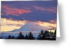 Mount Rainier Shrouded In Clouds Greeting Card
