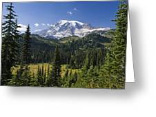 Mount Rainier With Coniferous Forest Greeting Card