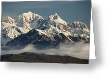 Mount Tasman And Mount Cook Southern Greeting Card by Colin Monteath