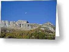 Mountain And Moon Greeting Card