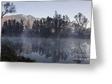 Mountain And Trees Reflected In A Foggy Lake Greeting Card