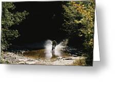 Mountain Biker Splashing Through Water Greeting Card