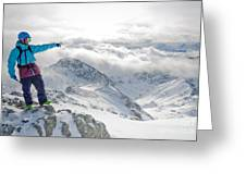 Mountain Guide Snowboard Instructor Pointing Out Peaks In Davos Greeting Card