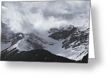 Mountain Panoramic In Winter, Spray Greeting Card