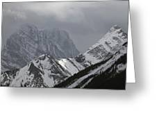 Mountain Peaks In Clouds, Spray Lakes Greeting Card