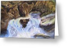 Mountain Waterfalls Painting Greeting Card