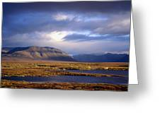 Mountains And Lakes, Dempster Highway Greeting Card