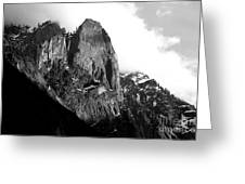 Mountains Of Yosemite . 7d6167 . Black And White Greeting Card by Wingsdomain Art and Photography