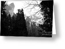 Mountains Of Yosemite . 7d6213 . Black And White Greeting Card
