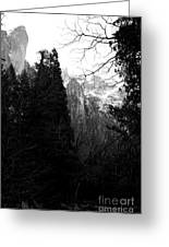 Mountains Of Yosemite . 7d6214 . Black And White Greeting Card