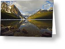Mountains Reflected In Lake Louise Greeting Card