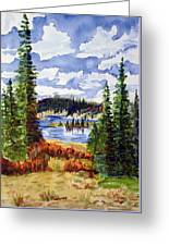 Mountian Lake Greeting Card by Linda Pope