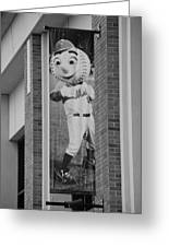 Mr Met In Black And White Greeting Card by Rob Hans