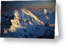 Mt Cook Or Aoraki And Mt Tasman, Aerial Greeting Card