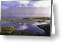 Mt Rainier An Active Volcano Encased Greeting Card