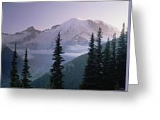 Mt Rainier As Seen At Sunrise Mt Greeting Card