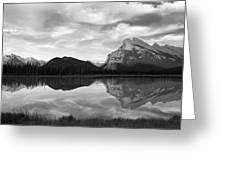 Mt. Rundel Reflection Black And White Greeting Card