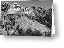 Mt. Rushmore Full View In Black And White Greeting Card