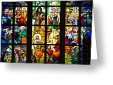 Mucha Window St Vitus Cathedral Prague Greeting Card by Matthias Hauser