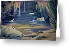 Mural Death In Autumn Greeting Card