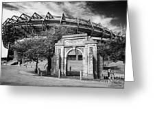 Murrayfield Stadium With War Memorial Arch Edinburgh Scotland Greeting Card