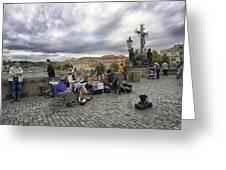 Musicians On The Charles Bridge - Prague Greeting Card