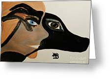 My Beloved Greyhound And Me Greeting Card by Marie Bulger