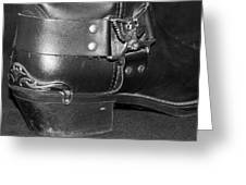 My Biker Cowboy Boot In Black And White Greeting Card