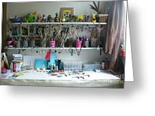 My Desk On A Slow Day Brooklyn Alien Art Greeting Card by Kristi L Randall