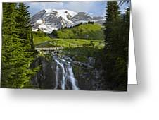 Myrtle Falls And Mount Rainier Mount Greeting Card by Tim Fitzharris