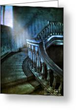 Mysterious Stairway In Old Mansion Greeting Card