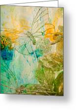 Mystical Garden - Golden Butterflies Greeting Card